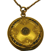 Antique Art Nouveau Signed W&S B Gold Filled Locket Pendant Necklace