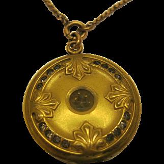 Antique Art Nouveau Signed W&S B Gold Filled Locket Pendant Necklace