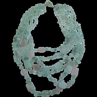 Vintage Signed Sajen 6 Strand Aqua Pink Gemstone Necklace