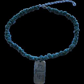 Vintage Signed Caroline Pollack Relios Turquoise Sterling Adjustable Necklace