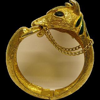 Vintage Signed Pauline Rader Green Enamel Gold Tone Horse Head Hinged Clamper Bracelet.