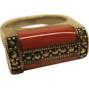 Vintage Coral Sterling Marcasite Ring Sz 8.75