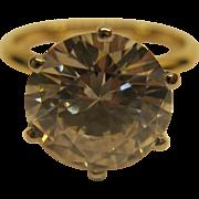 Vintage 14 Karat Gold 5 Karat CZ Solitaire Ring Sz 6.5