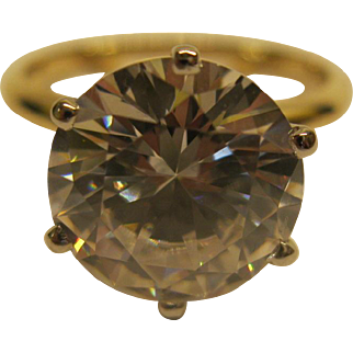 Vintage 14 Karat Yellow Gold 5 Karat Brilliant Cut CZ Solitaire Ring Sz 6.5