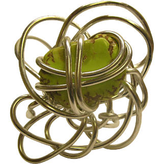 Vintage Signed Jeff Lieb Aluminum Lime Green Gemstone Cuff Bracelet