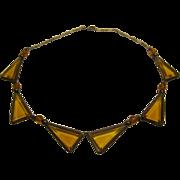 Vintage Art Deco Sterling Amber Colored Bezel Set Crystal Necklace Choker