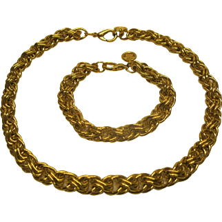 Vintage Signed Givenchy Gold Tone Heavy Rope Chain Necklace Bracelet Set