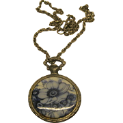Vintage Blue Delft Porcelain Diana Roman Hunt Goddess Pendant Necklace