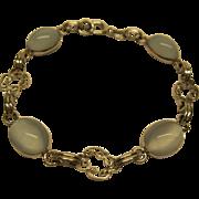 """Vintage 12K White Gold Filled Bezel Set Oval Moonstone Link Bracelet 7.5"""" Long"""
