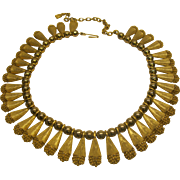 Vintage 1940's 50's Gold Tone Dangling Bib Choker Necklace Adjustable Length