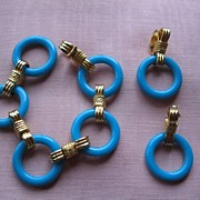 Vintage Castlecliff Aqua Blue & Gold Metal Bracelet & Earrings Set