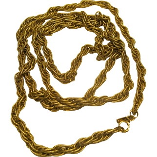 "Vintage 55"" Long Signed Monet Heavy Gold Tone French Rope Chain Necklace"
