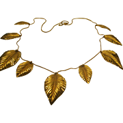 "Vintage Signed Napier Dangling Golden Leaves Necklace 29"" Long"
