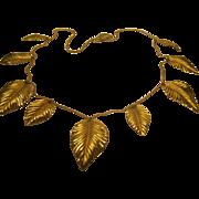 """Vintage Signed Napier Dangling Golden Leaves Necklace 29"""" Long"""
