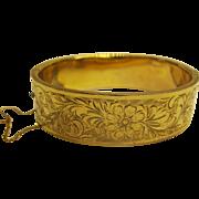 Vintage Signed WJR Wide Gold Filled Embossed Bangle Bracelet