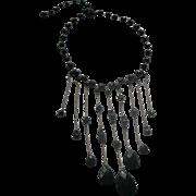 Vintage Signed Miriam Haskell Black Beaded Bib Necklace Adjustable Length