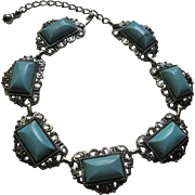 Vintage Selro Style Chunky Faux Turquoise Choker Necklace