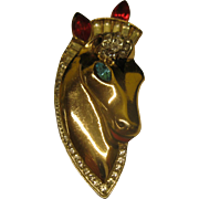 Vintage Early Coro Craft Gold Vermeil Sterling Silver Horse Head Fur Clip Pin Broach