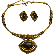 Vintage Signed Avon Gold Tone Amethyst Colored Cabochon Necklace Pierced Earrings Set