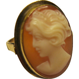 Antique Victorian 14K Gold Carved Shell Cameo Ring Sz 6