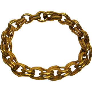 Vintage 18K Yellow Gold Double Link Bracelet 8 inches 16.8 grams