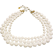 Vintage 1950's Signed Castlecliff 3 Strand Milk Glass Bead Necklace
