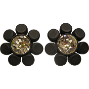 Vintage Signed CHANEL Black Resin Camellia Clip Earrings