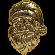 Vintage Signed Best Silver Plate Christmas Santa Pin Broach Pendant