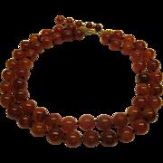 Vintage 2 Strand Carnelian Bead Necklace Adjustable Length