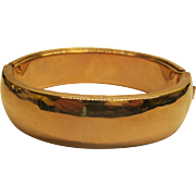Vintage Wide Rose Gold Filled Clamper Hinged Bangle Bracelet