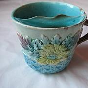 Antique Victorian Majolica Mustache Cup