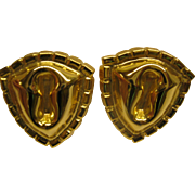 Vintage Signed William de Lillo Gold Tone Clip Earrings