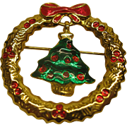 Vintage Signed AAI Christmas Tree Wreath Pin Broach