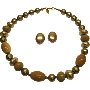 Vintage Signed Miriam Haskell Faux Grey Pearl Bead Necklace Earrings Set.