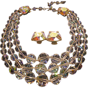Vintage Signed Laguna Aurora Borealis Crystal 3 Strand Necklace Clip Earrings Set