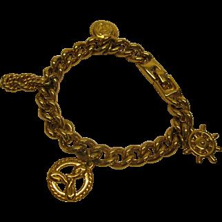 Vintage Signed Monet Nautical Theme Gold Tone Charm Bracelet