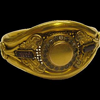 Antique Art Nouveau Signed Gold Filled Jeweled Cuff Bangle Bracelet 58.6 Grams