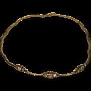 Vintage Signed DBJ Sterling Amethyst Blue Topaz Scallop Link Necklace