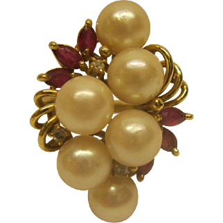 Vintage 14K Yellow Gold Freshwater Pearl  Ruby Diamond Cluster Ring Sz 6.5 Weighs 6.3 Grams
