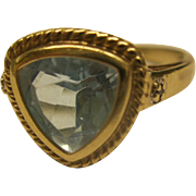 Vintage Signed JL 10K Yellow Gold Blue Topaz Ring Sz 7 Weighs 3.2 Grams