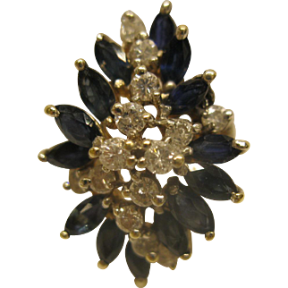 Vintage Signed LAJ 14K White Gold Blue Sapphire Diamond Cluster Ring Sz 6.25 Wt 6.2 Grams