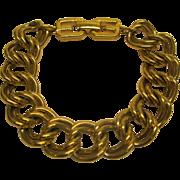 Vintage Signed Givenchy Gold Tone Double Link Bracelet