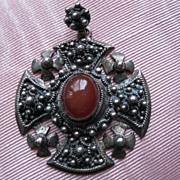 Vintage 935 Sterling Silver Carnelian Crusaders Jerusalem Cross Pendant