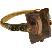 Vintage Signed Gold Filled Sterling Silver Amethyst Colored Stone Ring Sz 7.75