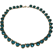 Antique Georgian Sterling Silver French Paste Turquoise Open Riviere Choker Necklace