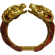 Rare Vintage Signed Donald Stannard Red Enamel Twin Rams Head Clamper Bracelet