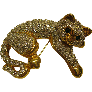 Vintage Jeweled Rhinestone Cat Pin Broach With Green Eyes