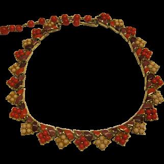 Vintage Signed Coro Red Purple Cream Enamel Glass Bead Necklace Adjustable Length