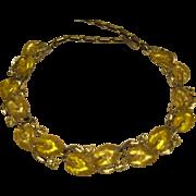 Vintage  1950's Signed Lisner Lucite Yellow Leaf Rhinestone Necklace