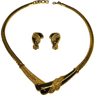 Vintage Signed Christian Dior Enamel Rhinestone Necklace Clip Earrings Set